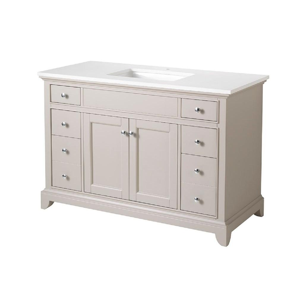 stufurhome Arianny 49 in. W x 22 in. D x 33.5 in. H Vanity in Taupe with Quartz Vanity Top in White and Basin