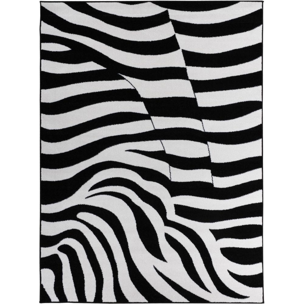Well Woven Electro Zebra Black 7 ft. 10 in. x 9 ft. 10 in. Animal Print Area Rug