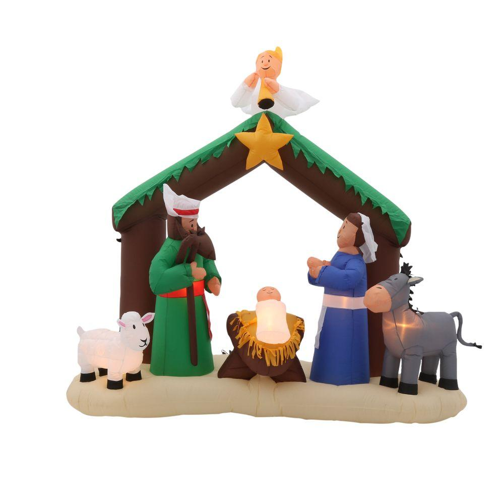 Home accents holiday 7 ft inflatable nativity scene 36707 the home depot for Home depot christmas decorations for the yard