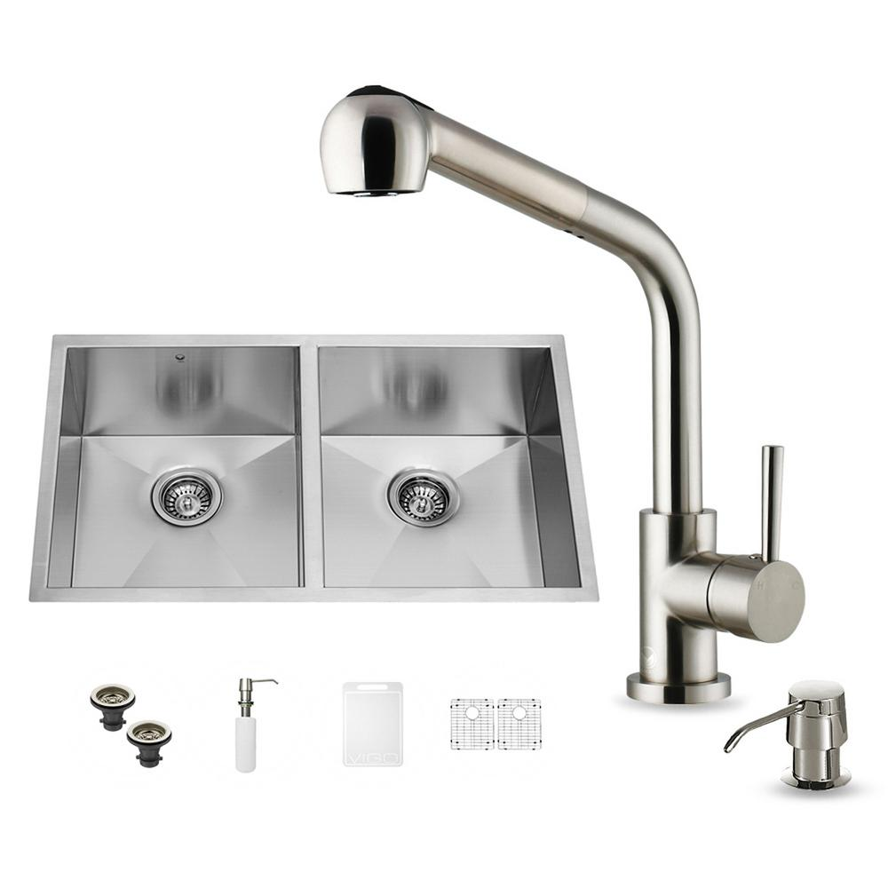 All-in-One Undermount Stainless Steel 32 in. Double Basin Kitchen Sink in