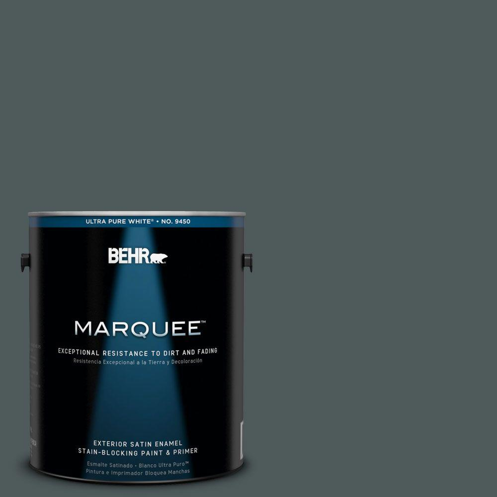 Interior Paint, Exterior Paint & Paint Samples: BEHR MARQUEE Paint 1-gal. #N440-7 Midnight in NY Satin Enamel Exterior Paint 945301