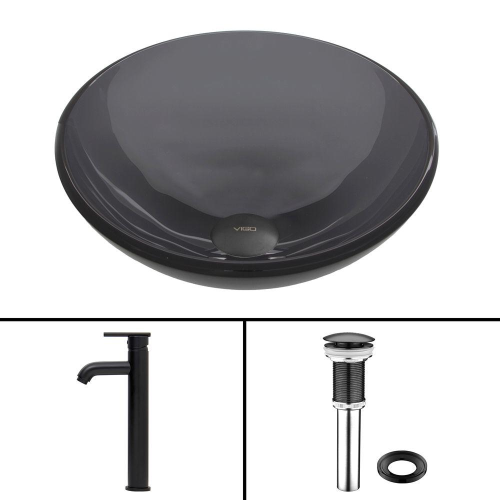 Glass Vessel Sink in Sheer Black and Seville Faucet Set in