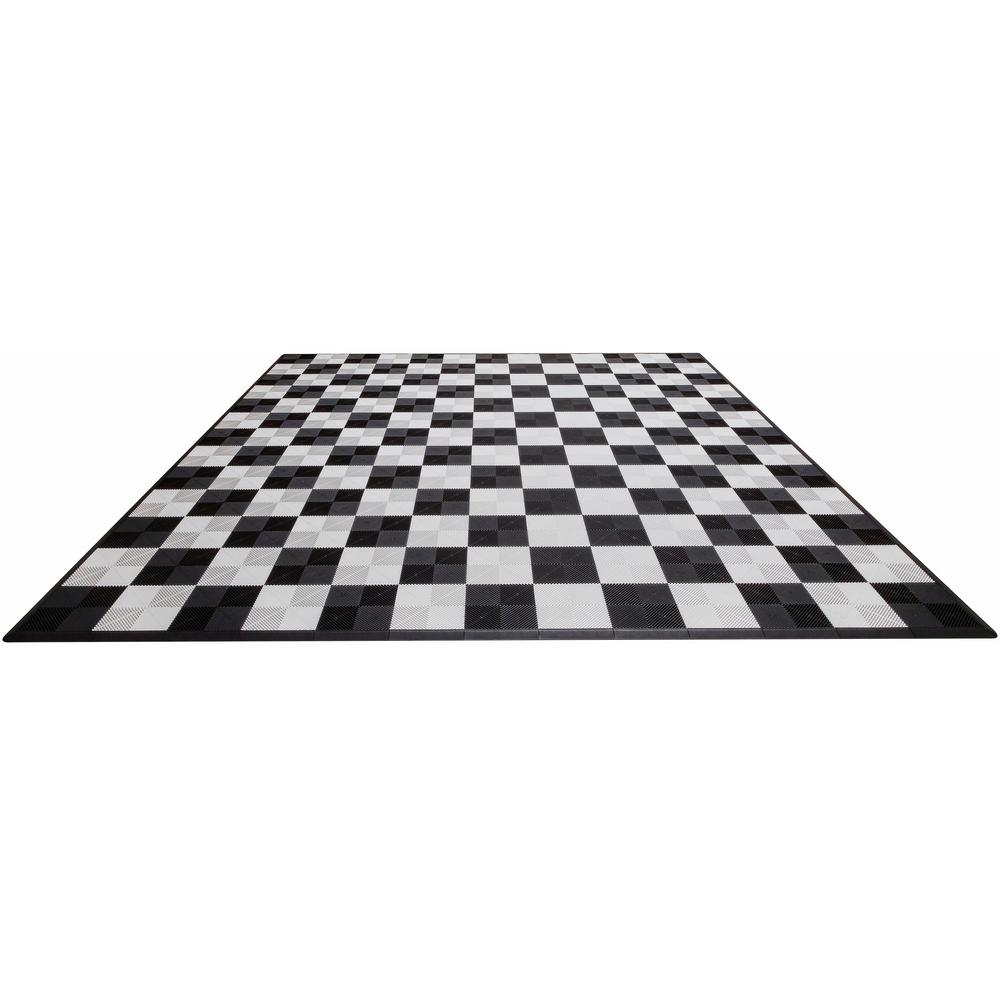 Black and White Checkered Double Car Pad Ribtrax Modular Tile Flooring