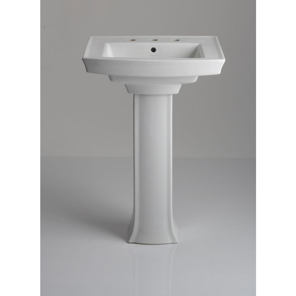 KOHLER Archer Vitreous China Pedestal Combo Bathroom Sink in White with Overflow Drain K 2359 8 0   The Home Depot. KOHLER Archer Vitreous China Pedestal Combo Bathroom Sink in White