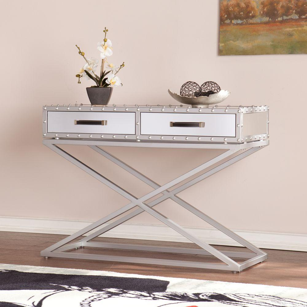 Southern Enterprises Harry Industrial Silver Mirrored Console Table-HD865089 -