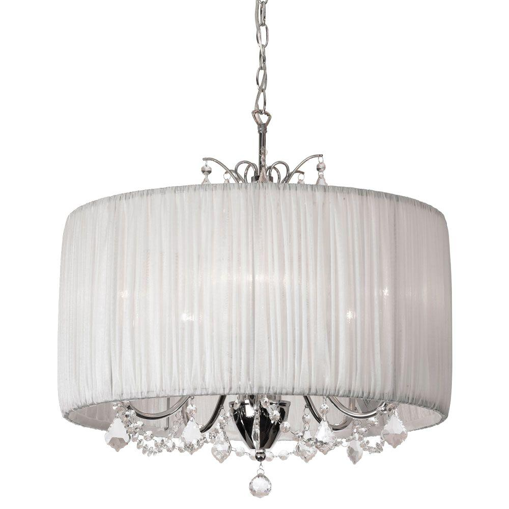 Radionic Hi Tech Victoria 5-Light Polished Chrome Crystal Chandelier with White Organza Shade