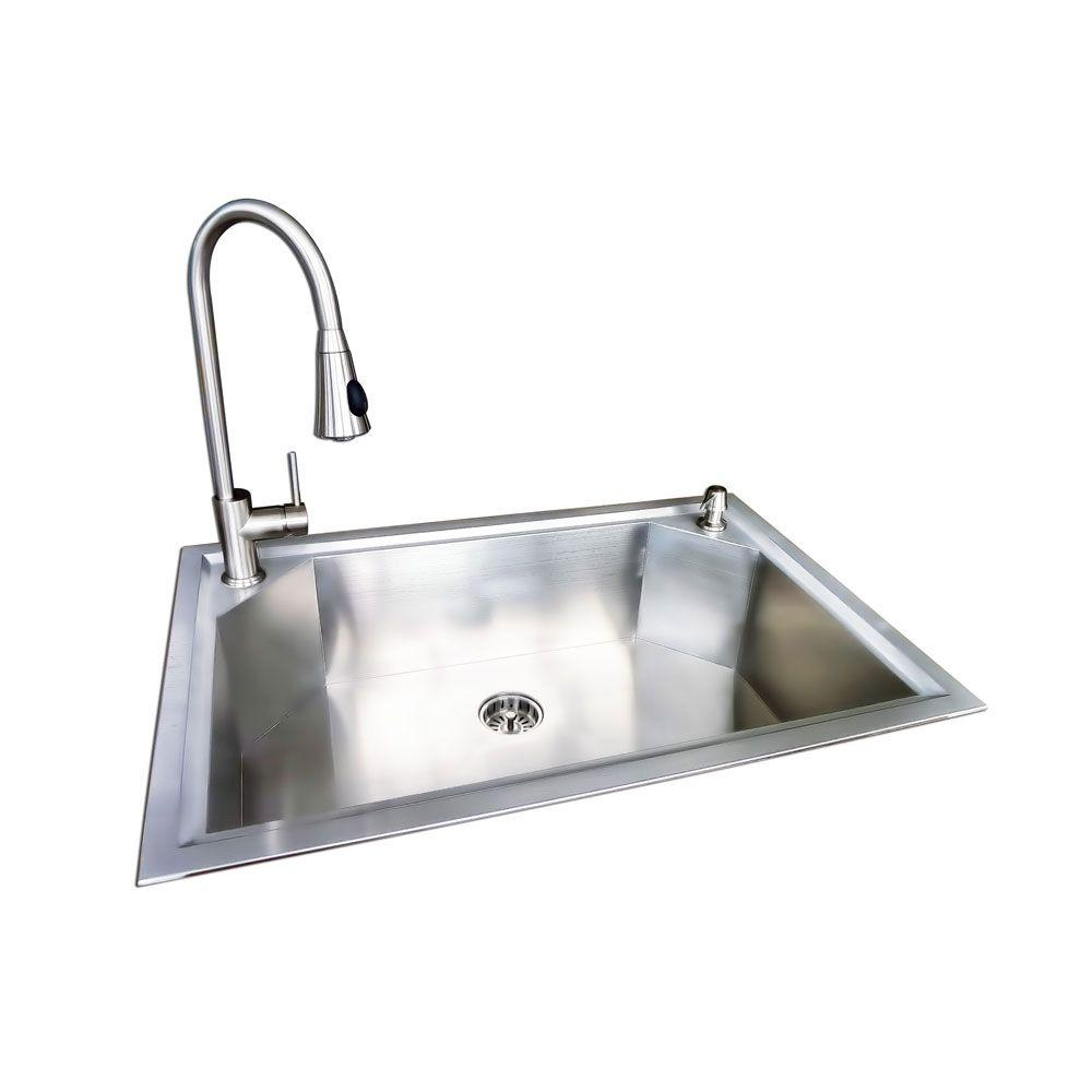 Glacier Bay Dual Mount Stainless Steel 22 in. 1-Hole Single Bowl Fabricated Kitchen Sink with Faucet