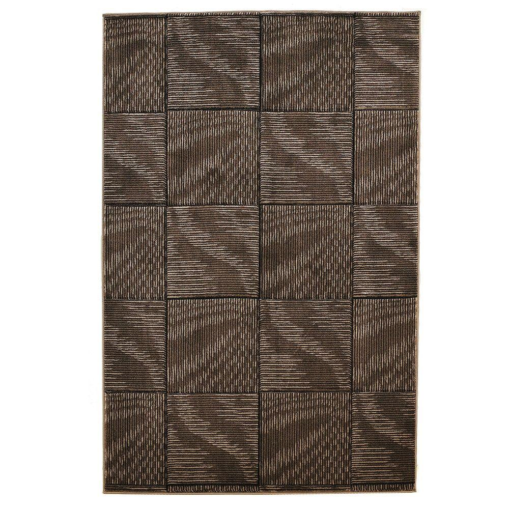 Milan Collection Brown and Beige 1 ft. 10 in. x 2 ft. 10 in. Indoor Area Rug, Primary: Brown/Secondary: Beige