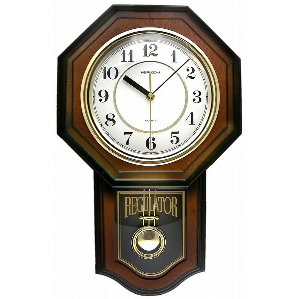 Timekeeper Products 18-1/2 in. x 11-1/4 in. Pendulum Westminster Chime Faux Wood Wall Clock
