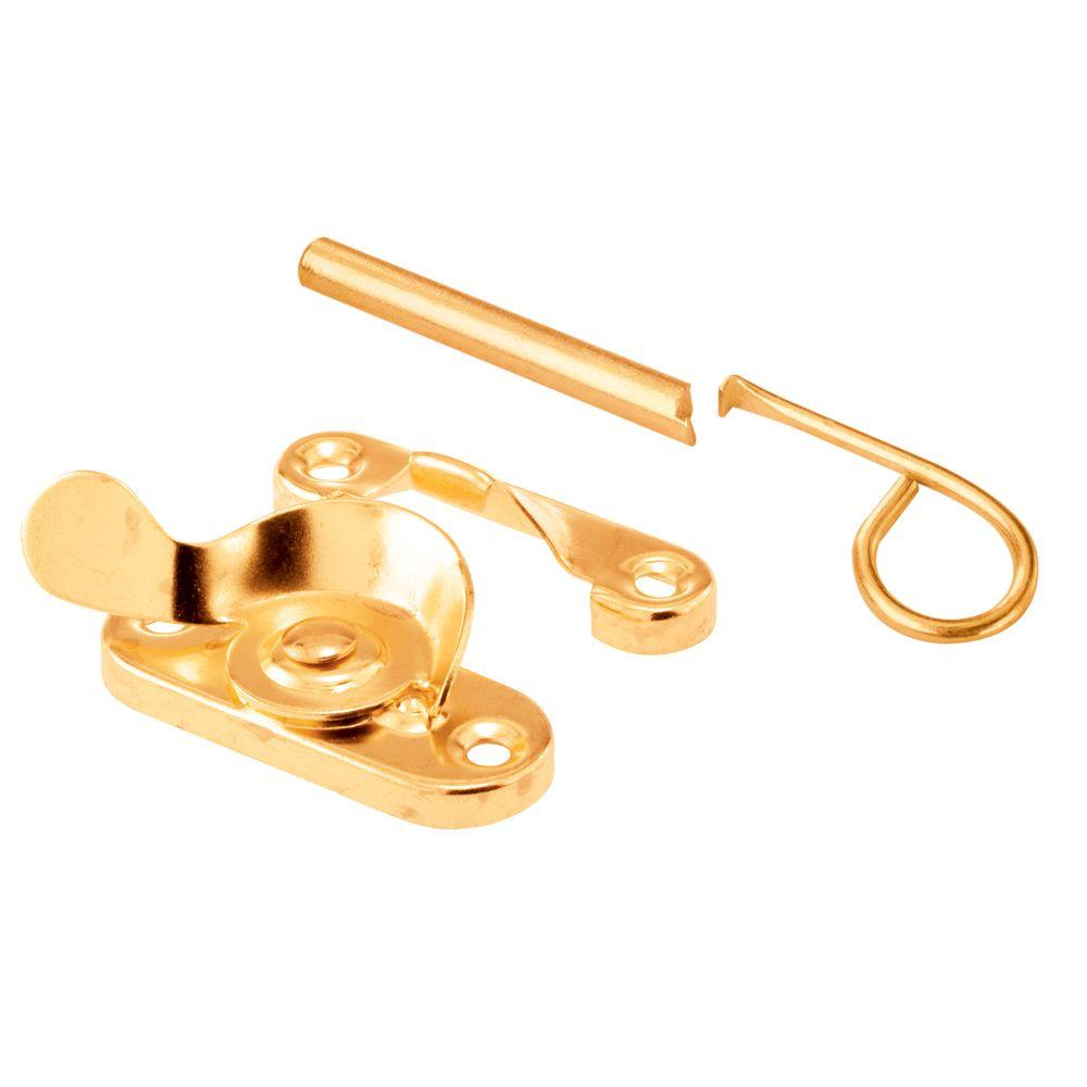 Sliding Window Sash Lock with Security Pin, Brass Plated Steel