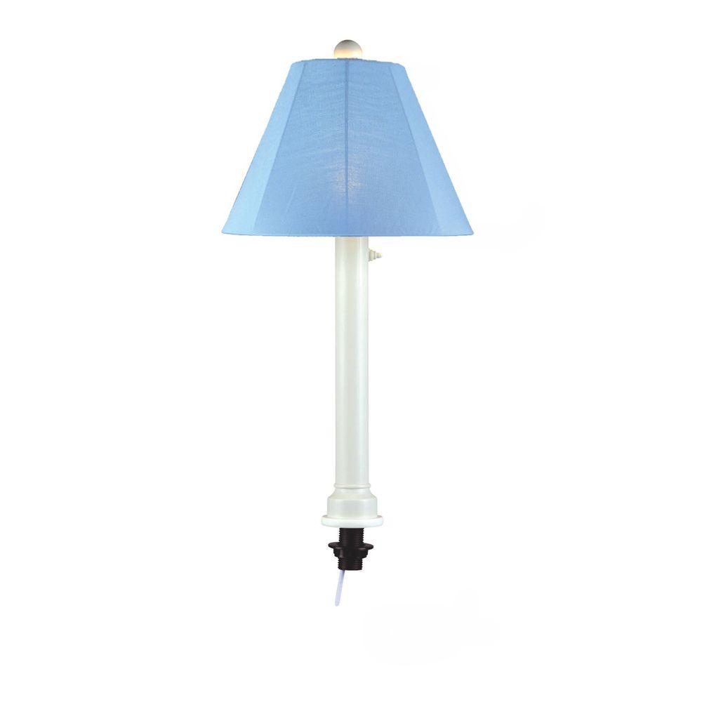 Patio Living Concepts Catalina 28 in. White Umbrella Outdoor Table Lamp with Sky Blue Shade