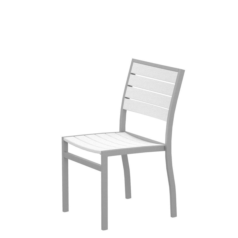 Euro Textured Silver Patio Dining Side Chair with White Slats