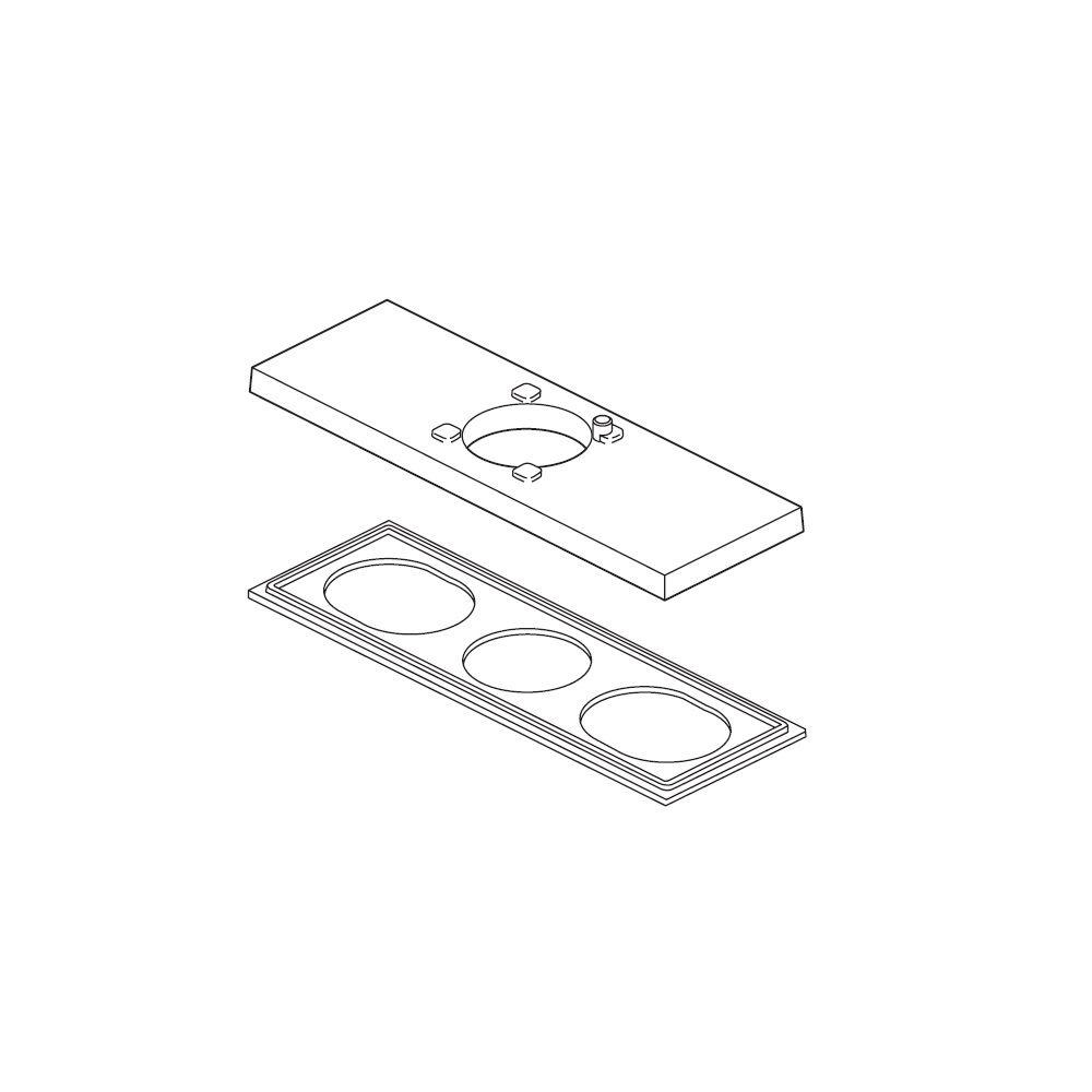 Ara Escutcheon and Gasket for 3-Hole Installations, Chrome