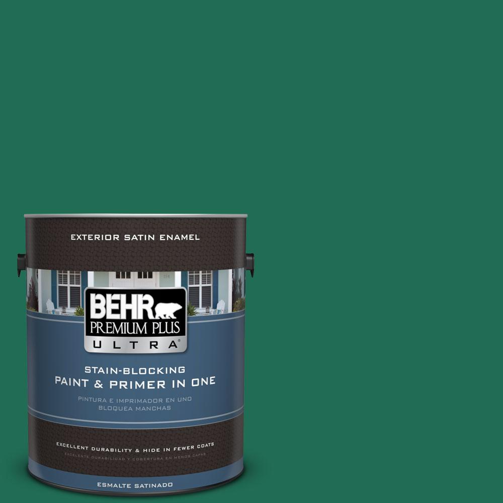 Behr marquee 1 gal 470b 6 emerald lake satin enamel for Emerald satin paint