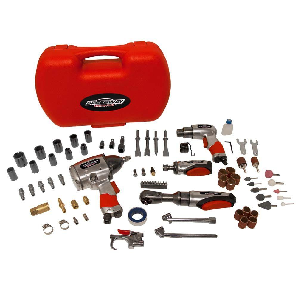 SPEEDWAY 74-Piece Pro Air Tool Accessory Kit-52071 - The Home Depot