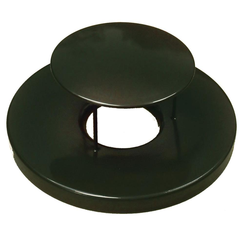 Black Steel Lid with Rain Guard Dome