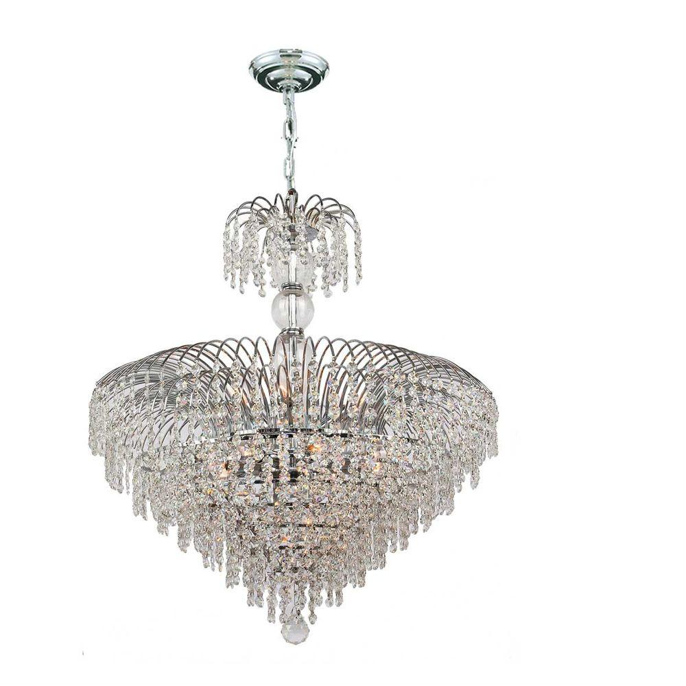 Empire Collection 14-Light Chrome Chandelier with Clear Crystal
