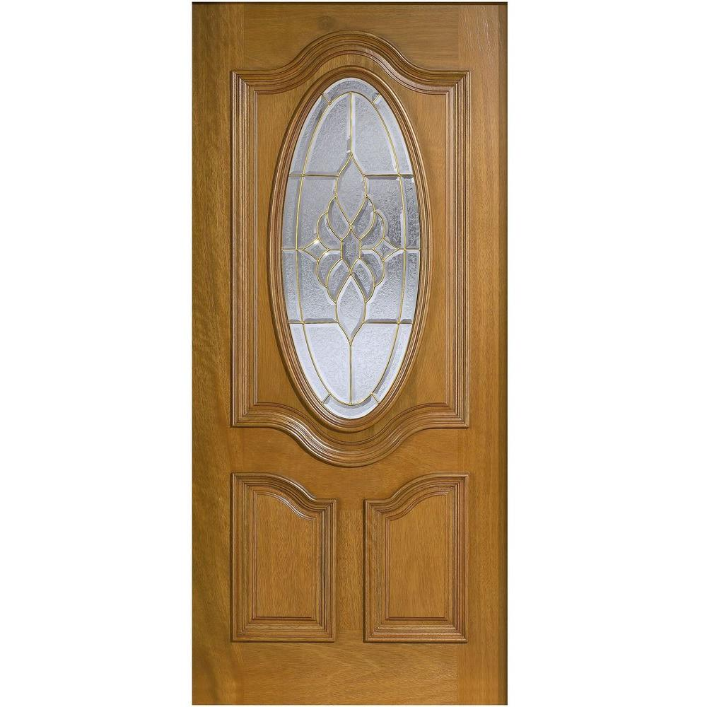 Main door 32 in x 80 in mahogany type 3 4 oval glass for Main front door