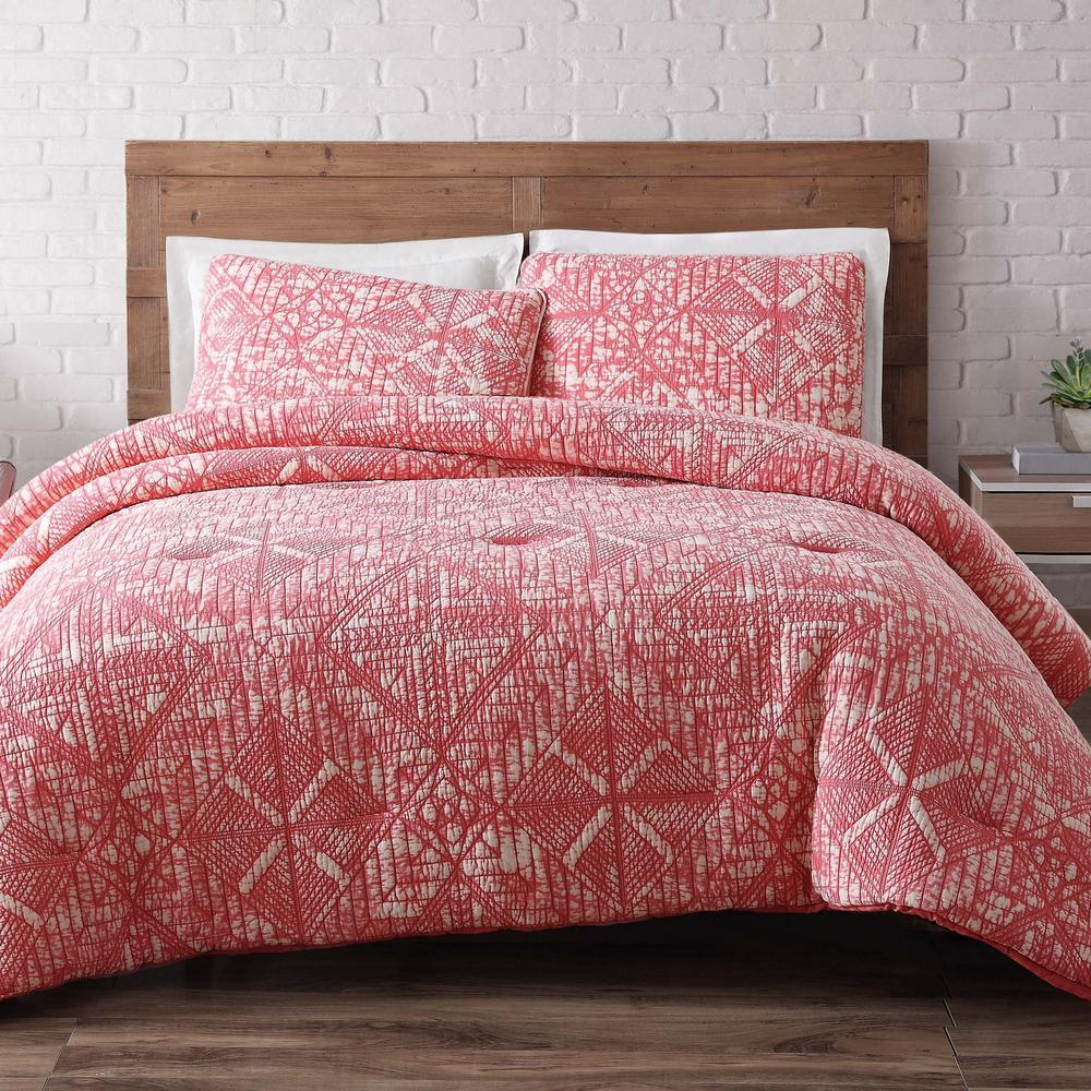 Sand Washed Cotton King Quilt Set in Coral