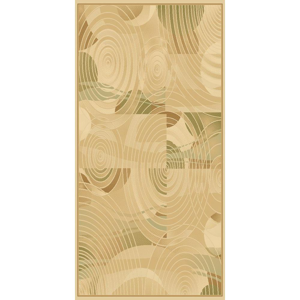 LA Rug 859/16 Circles Cream Crown Collection 2 ft. x 8 ft. Runner