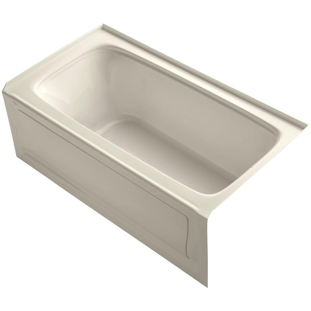 Bancroft 5 ft. Right Drain Soaking Tub in Almond with Bask