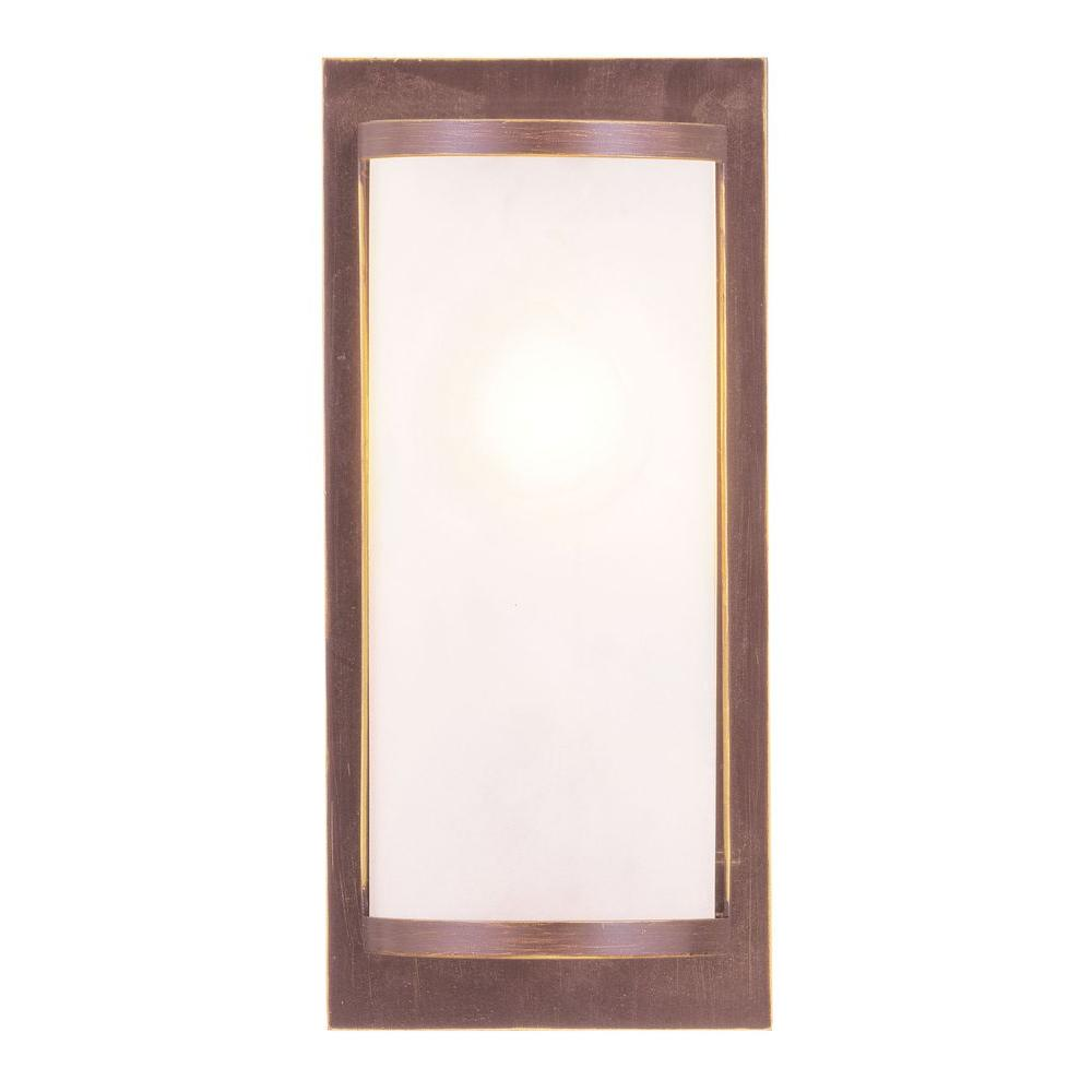 Livex Lighting 1-Light Vintage Bronze Wall Sconce with Satin Glass Shade