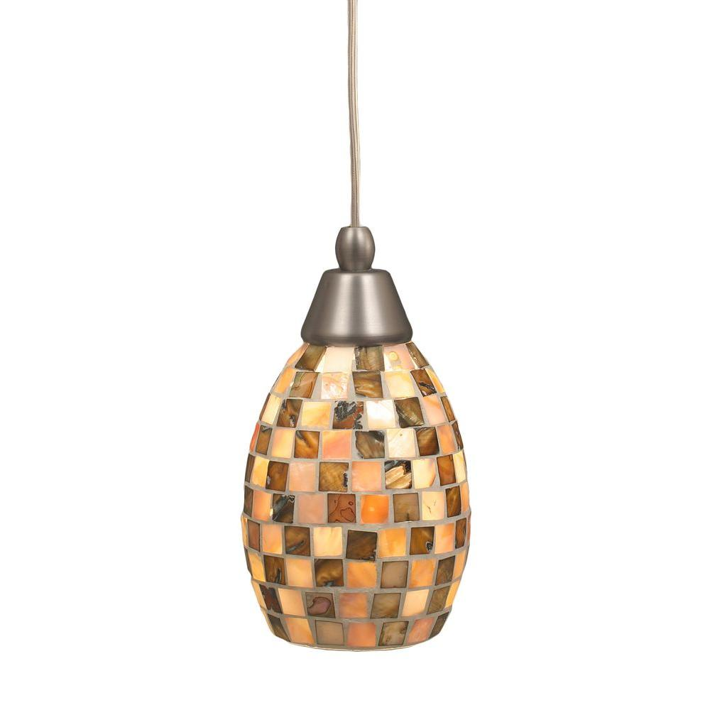 Armenta 1-Light Brushed Nickel Pendant with Seashell Glass