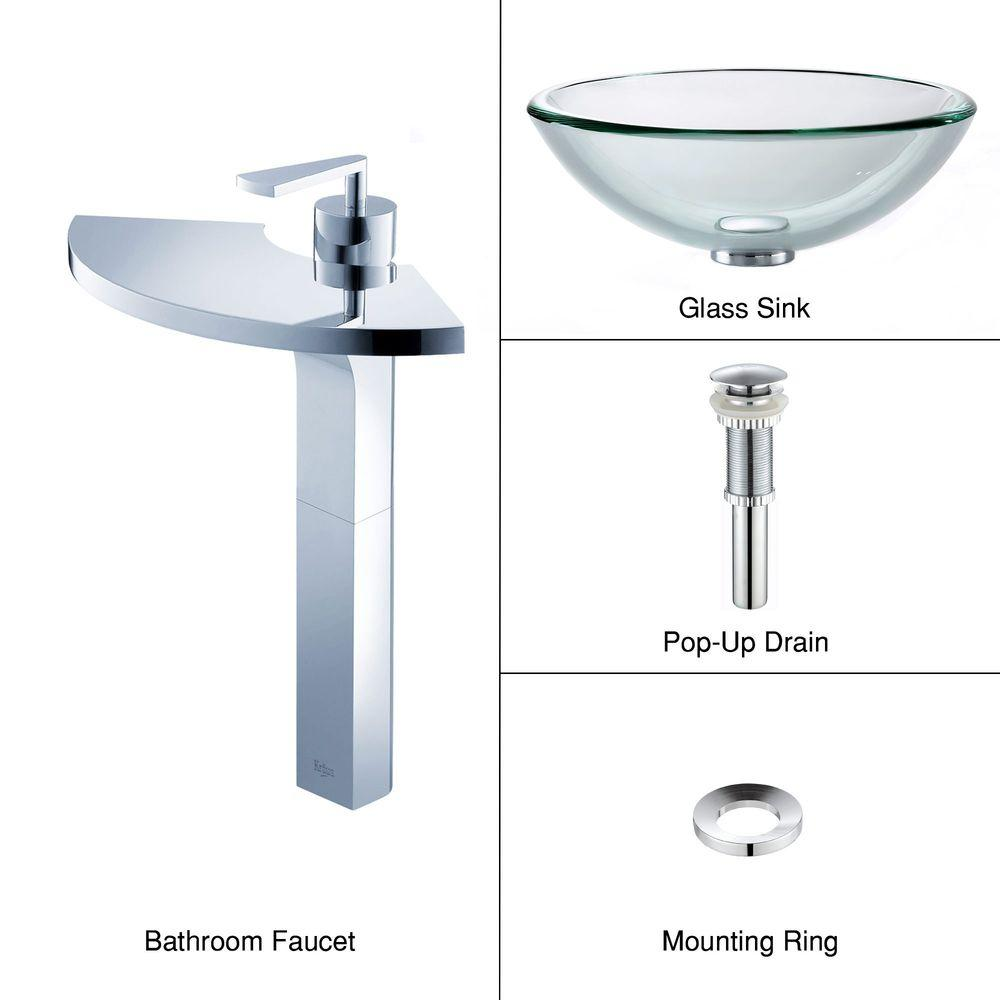 KRAUS Vessel Sink in Clear Glass with Fantasia Faucet in Chrome-DISCONTINUED