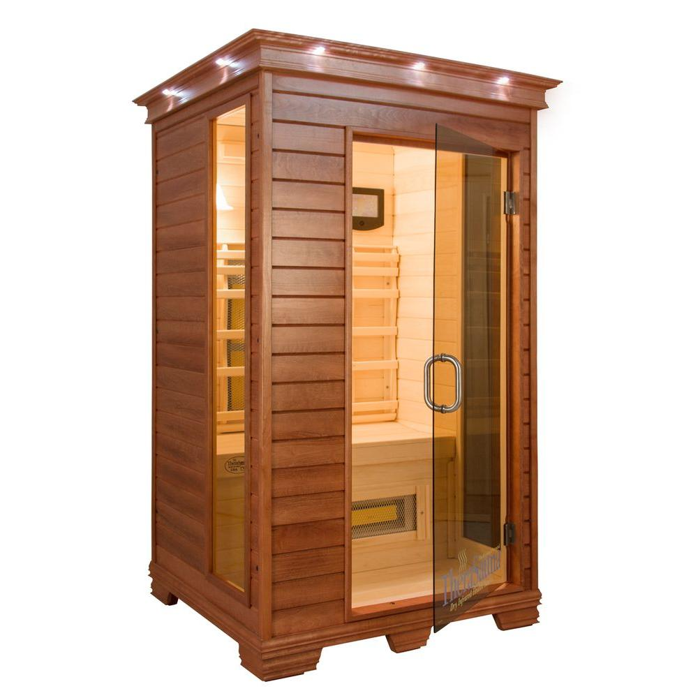 TheraSauna 2-Person Infrared Health Sauna with MPS Touchview Control, Aspen Wood