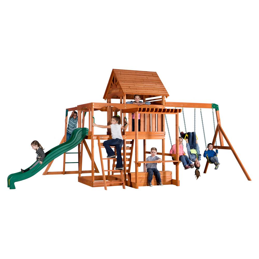 Backyard Discovery Monticello All Cedar Playset, Browns/Tans