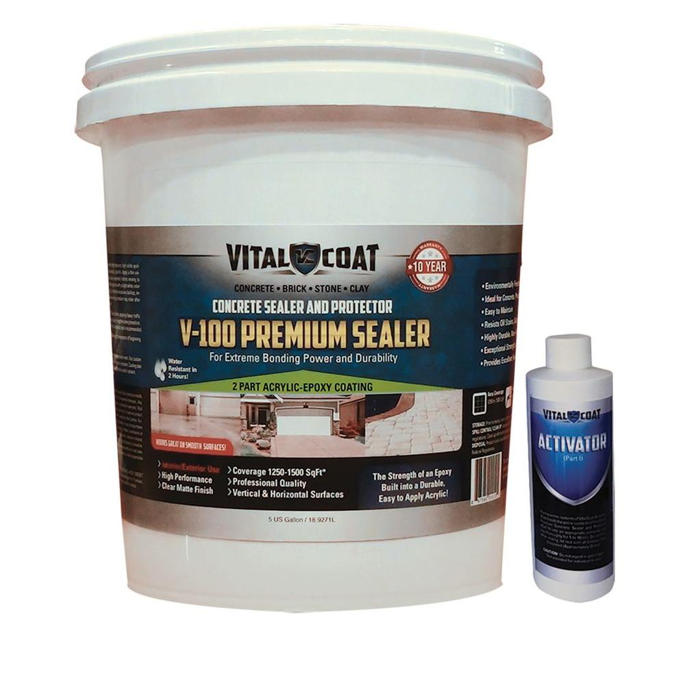 V-100 Premium 5 Gal. Water Base Acrylic Epoxy Natural Clear Concrete