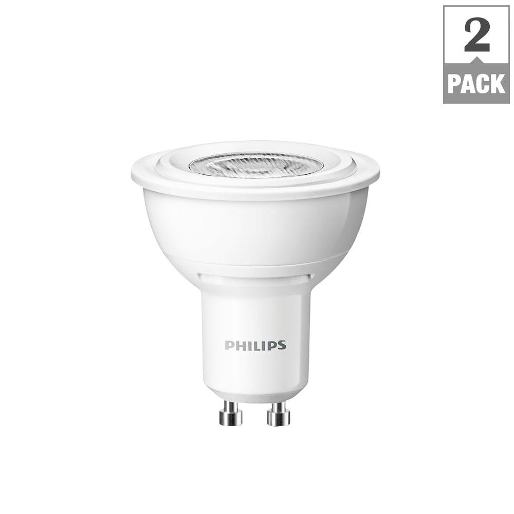 Philips 50W Equivalent Bright White MR16 GU10 Base Dimmable LED Floodlight Bulbs (2-Pack)
