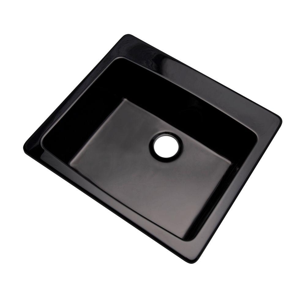 Northbrook Drop-In Composite Granite 25 in. Single Bowl Kitchen Sink in Black