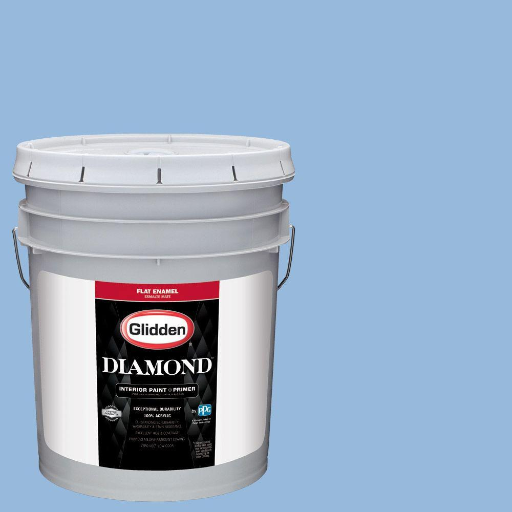 5 gal. #HDGV15 French Country Blue Flat Interior Paint with Primer