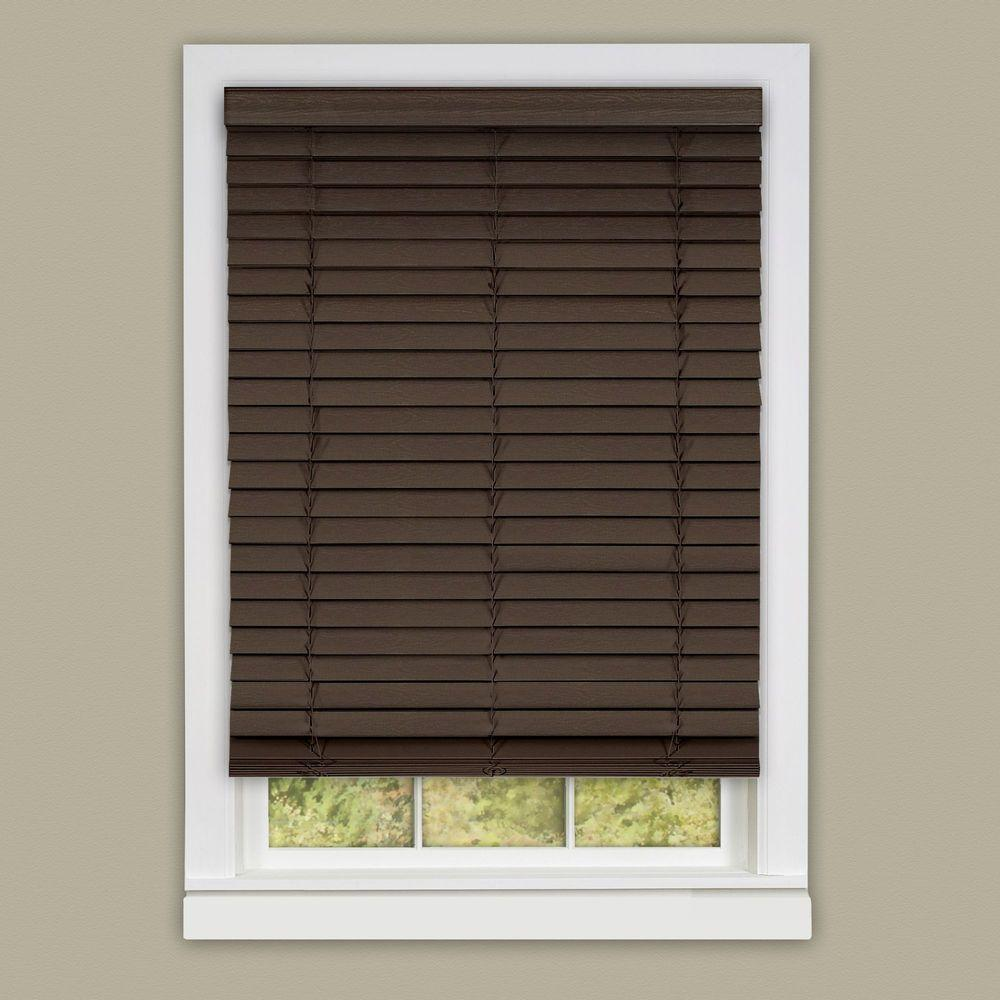 Mahogany Cordless 2 in. Faux Wood Madera Falsa Plantation Blind -
