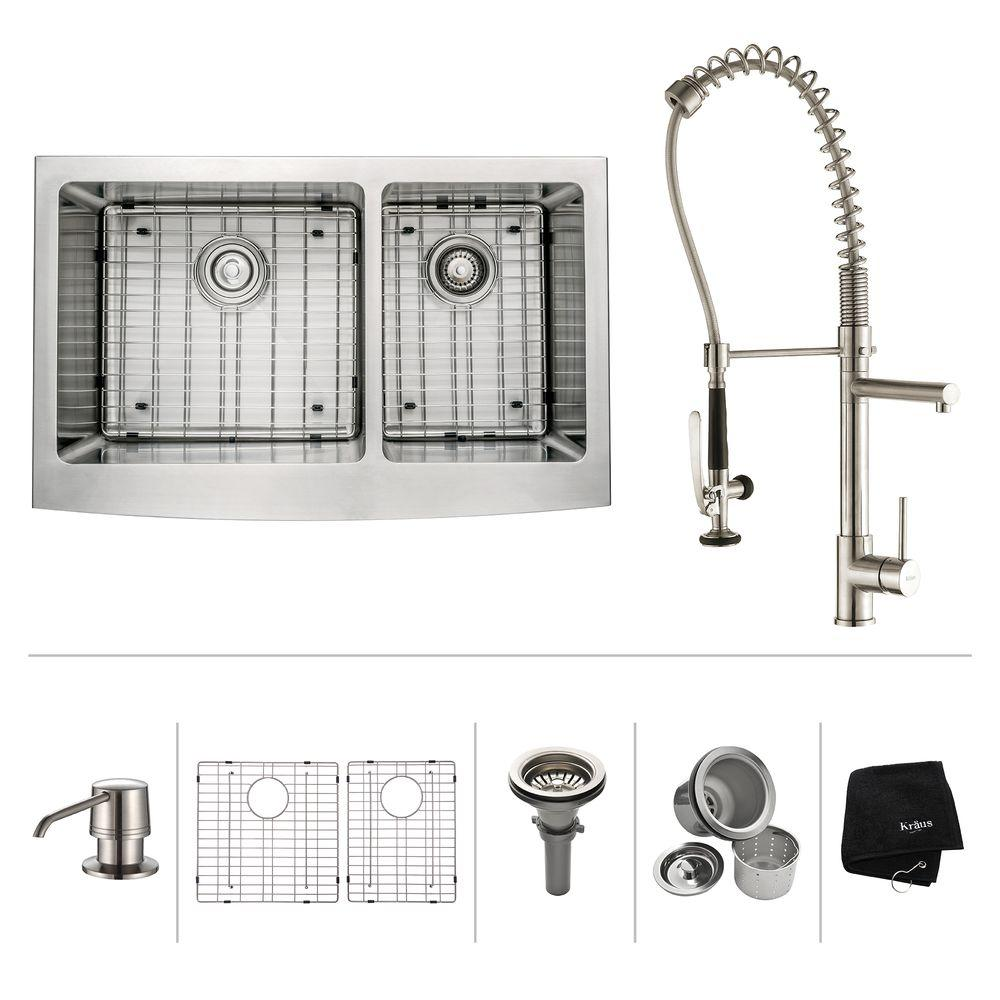 All-in-One Farmhouse Apron Front Stainless Steel 33 in. Double Basin Kitchen