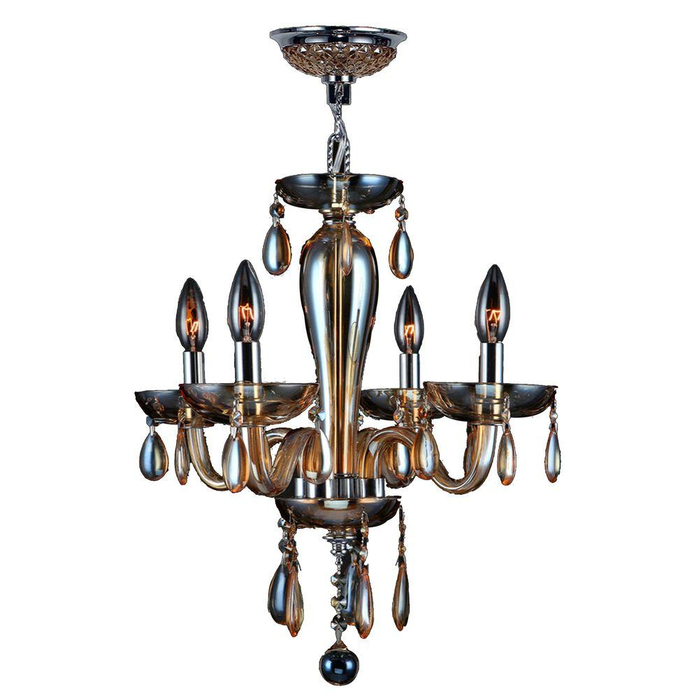 Gatsby Collection 4-Light Polished Chrome and Amber Crystal Chandelier