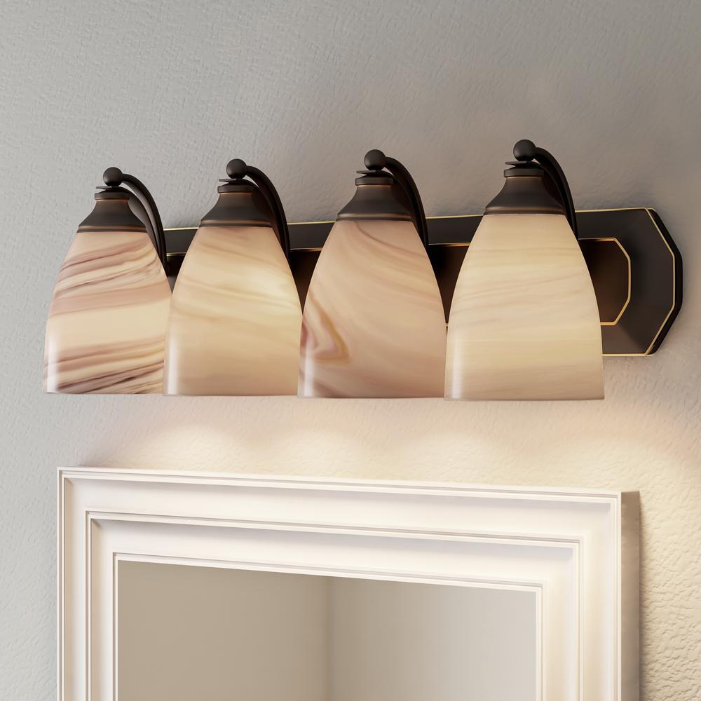 Titan Lighting 4 Light Aged Bronze Vanity Light With Creme