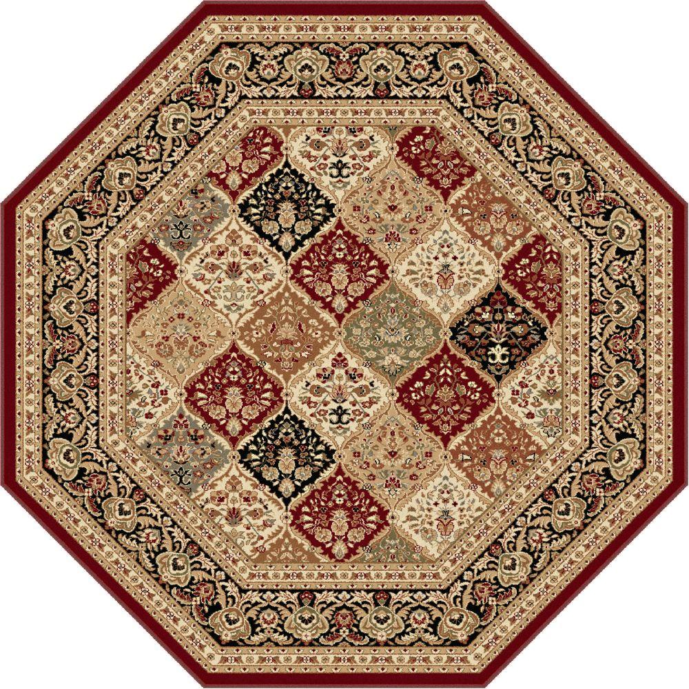 Sensation Red 7 ft. 10 in. Octagon Traditional Area Rug