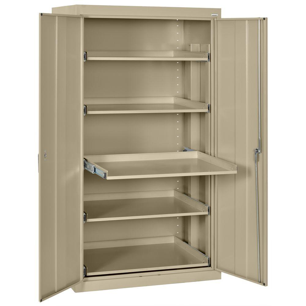 Sandusky 66 in. H x 36 in. W x 24 in. D Steel Heavy Duty Storage Cabinets with Pull-Out Tray Shelf in Tropic Sand