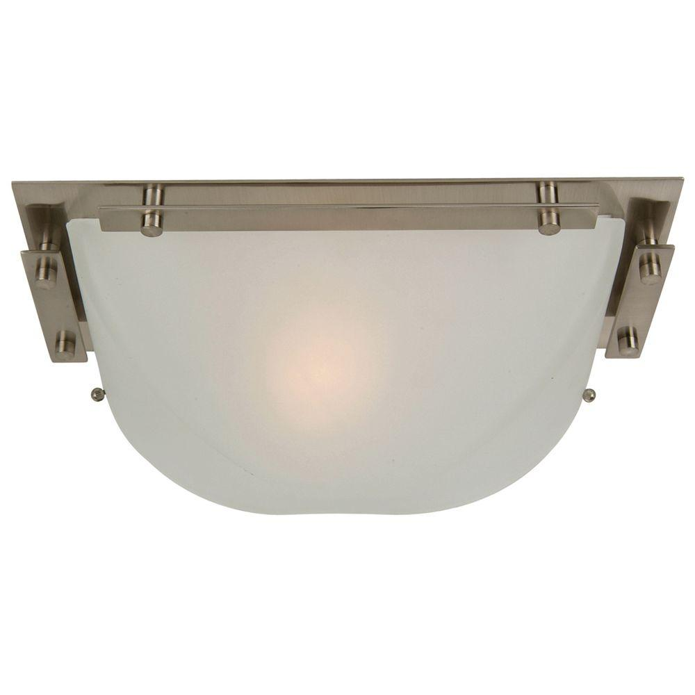 Half Dome Collection 1-Light Satin Nickel Sconce with White Frosted Glass