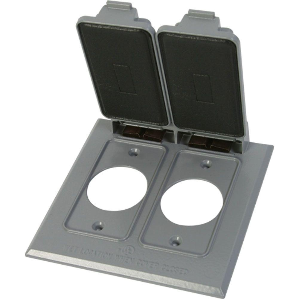 null Weatherproof Electrical 1.4 in. Dia. Double Receptacle Cover - Gray