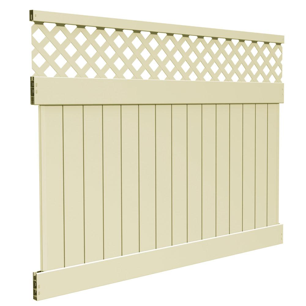 6 ft. H x 8 ft. W Sand Vinyl Carlsbad Privacy