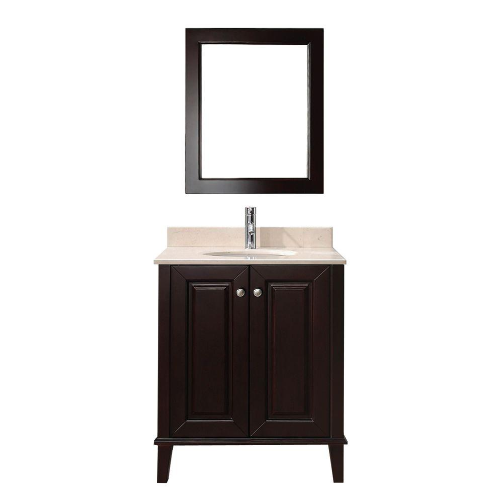 Lily 30 in. Vanity in Chai with Marble Vanity Top in