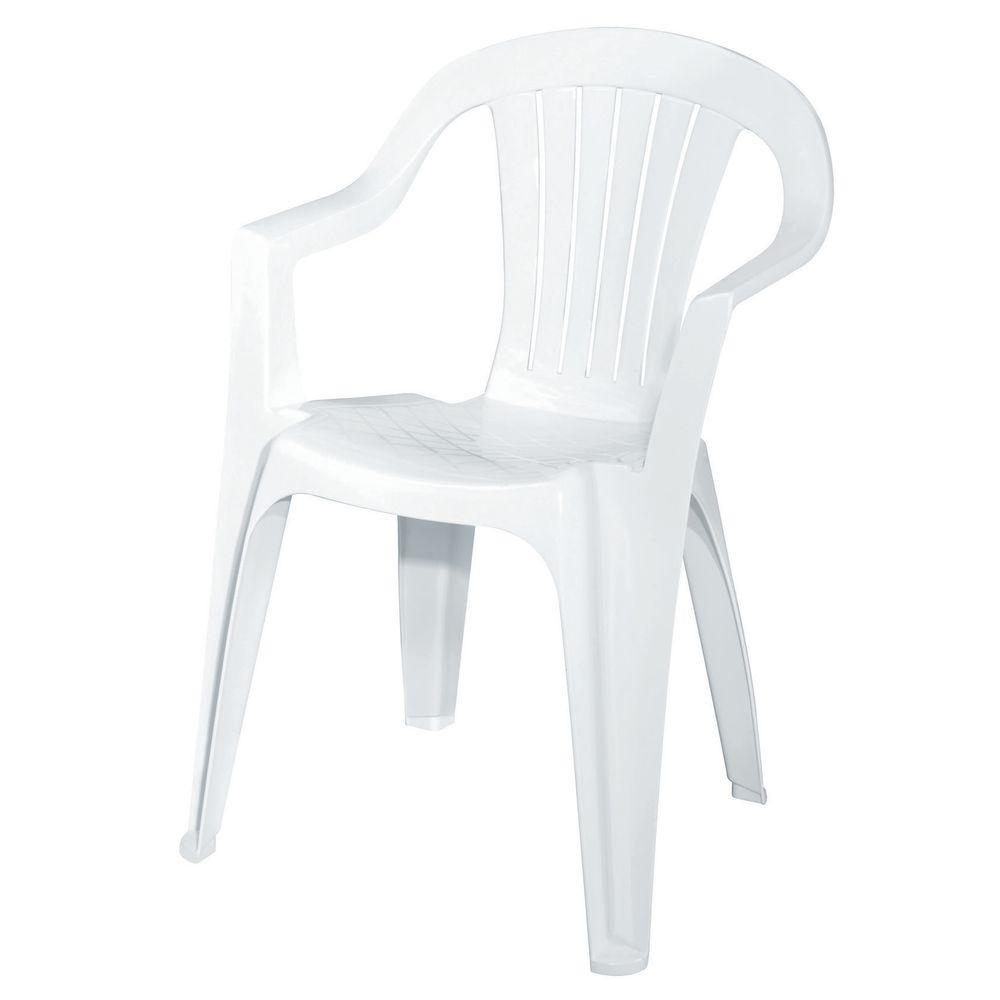 Plastic patio chairs home depot - White Patio Low Back Chair