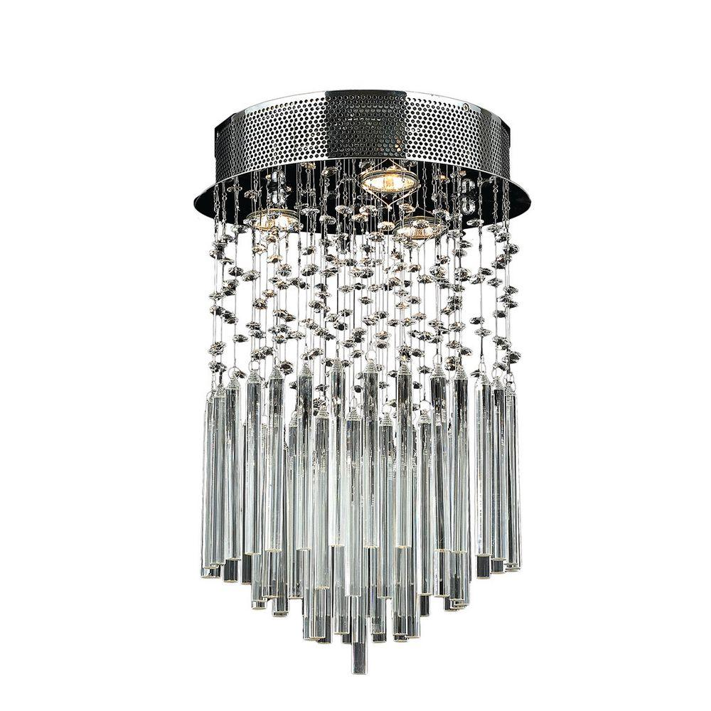 Worldwide Lighting Torrent Collection 3-Light Chrome and Crystal Ceiling