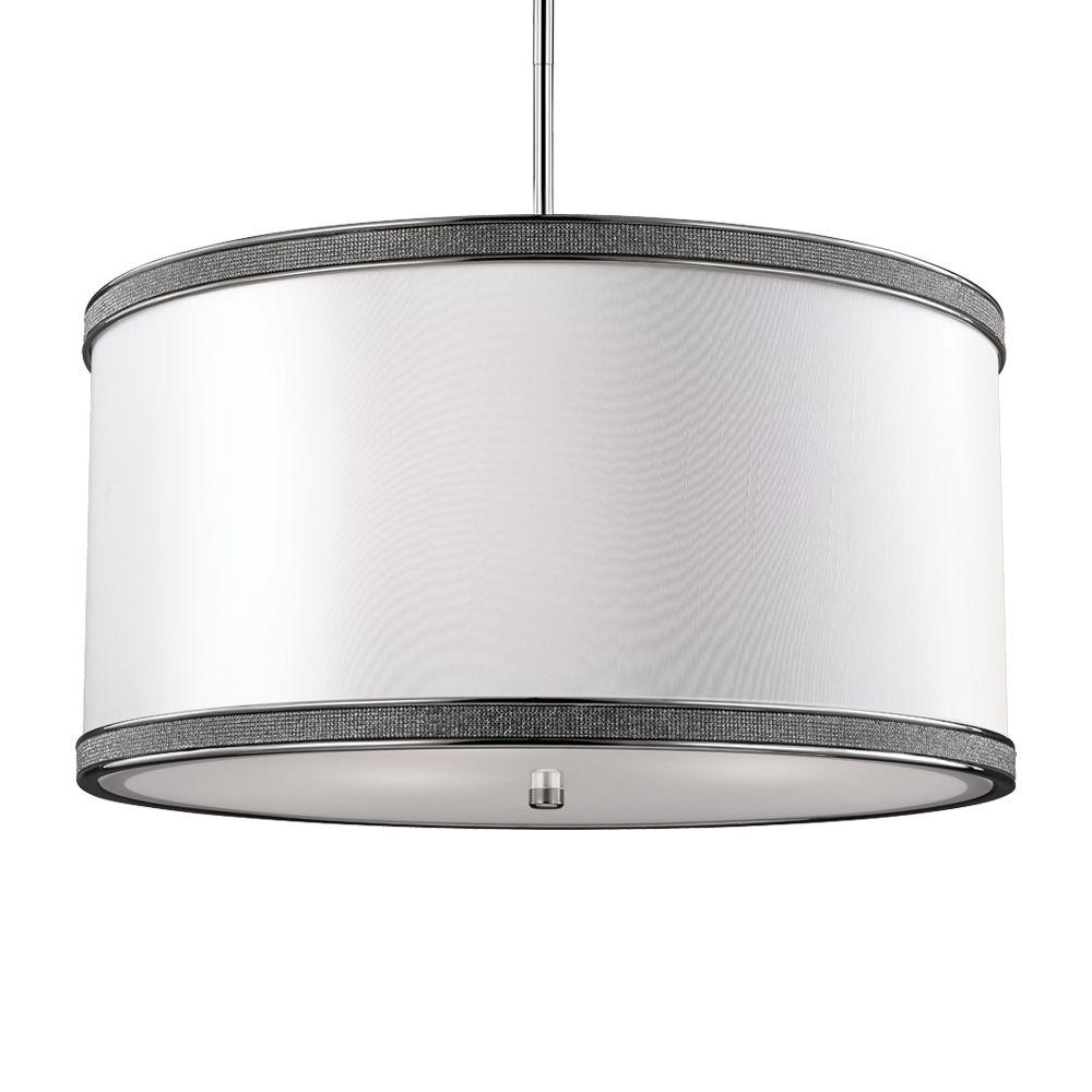 Feiss Pave 3-Light Polished Nickel Pendant-F2969/3PN - The Home Depot
