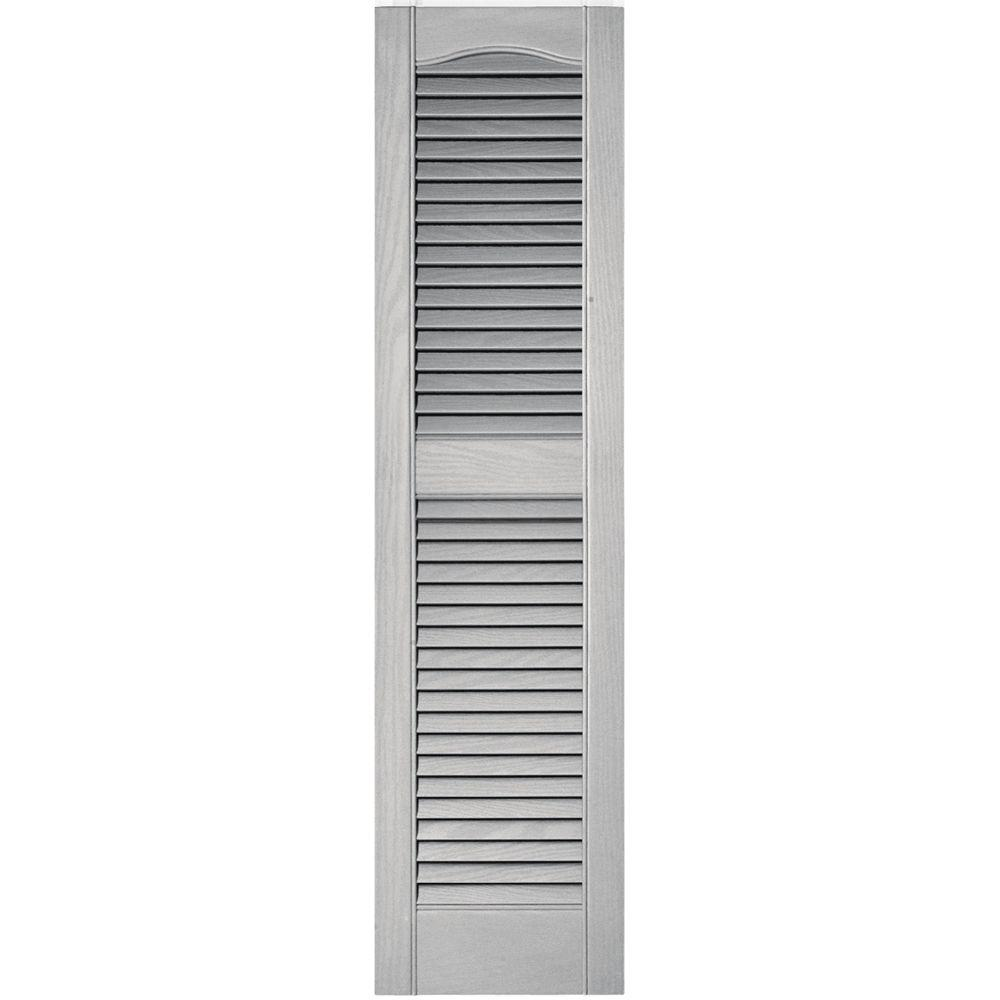 Builders Edge 12 in. x 48 in. Louvered Vinyl Exterior Shutters Pair in #030 Paintable