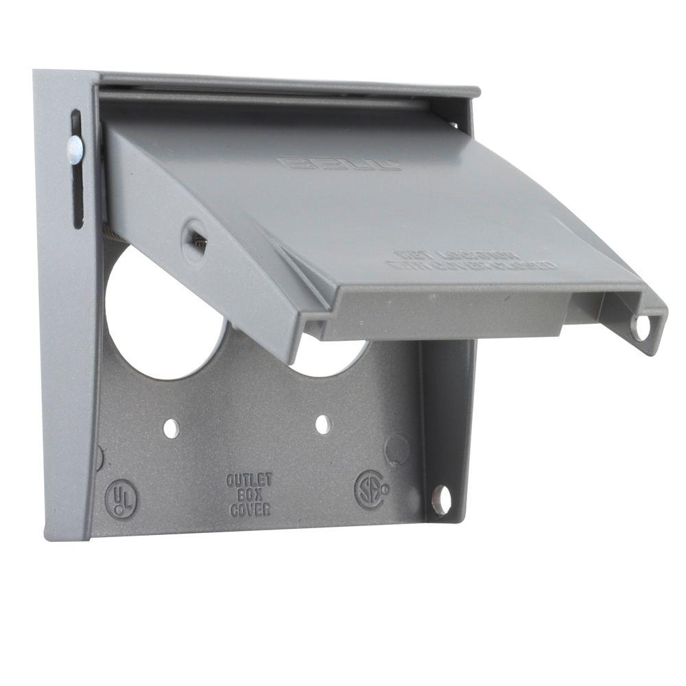 Bell 2 Gang Weatherproof Flip Lid Device Cover, Gray