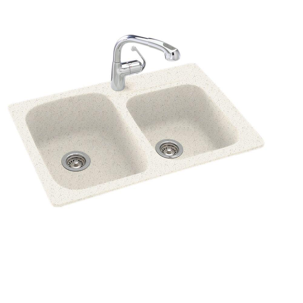 Swan Dual Mount Composite 33 in. 1-Hole 55/45 Double Bowl Kitchen